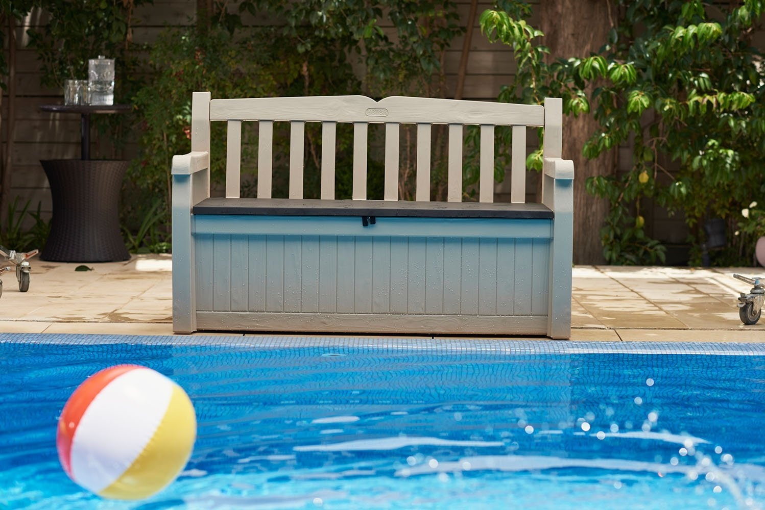 Jumbo Pool Pflege Keter Eden 265lall Weather Outdoor Patio Storage Bench Deck Box Beige Brown