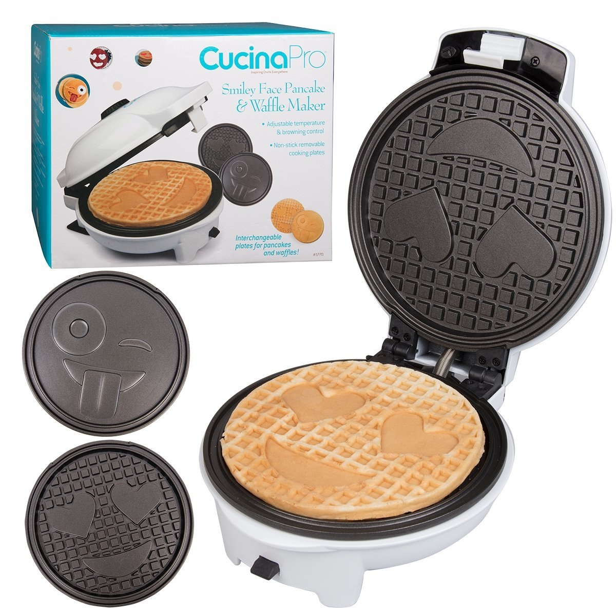 Cucinapro Waffle Emoji Waffler Pancake Maker W Interchangeable Plates Choose Either Smiley Face Waffles Or Pan Cakes Non Stick Electric Griddle Iron