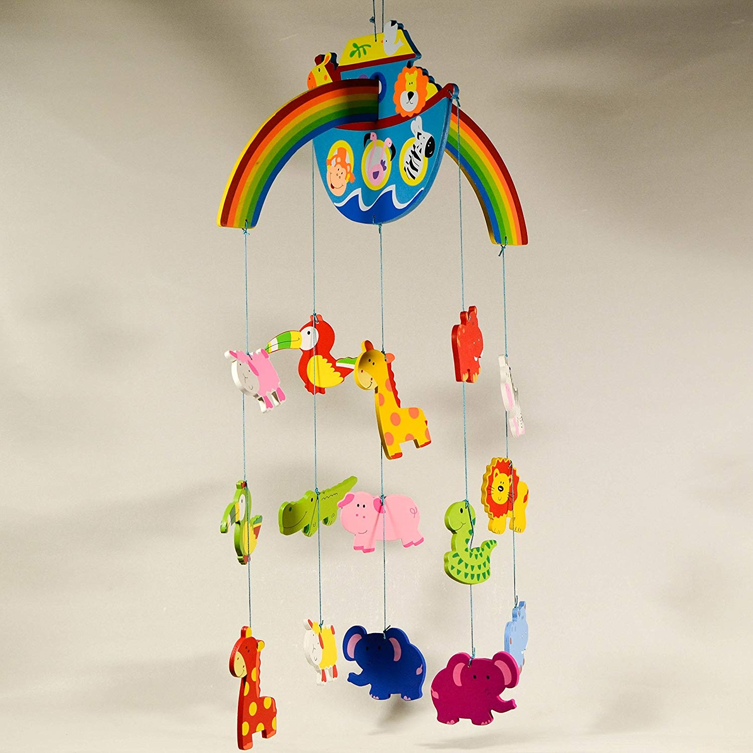 Wooden Baby Mobile Noah S Ark Wooden Hanging Mobile Nursery Decor Animal Mobile Ornament Baby Room Decor