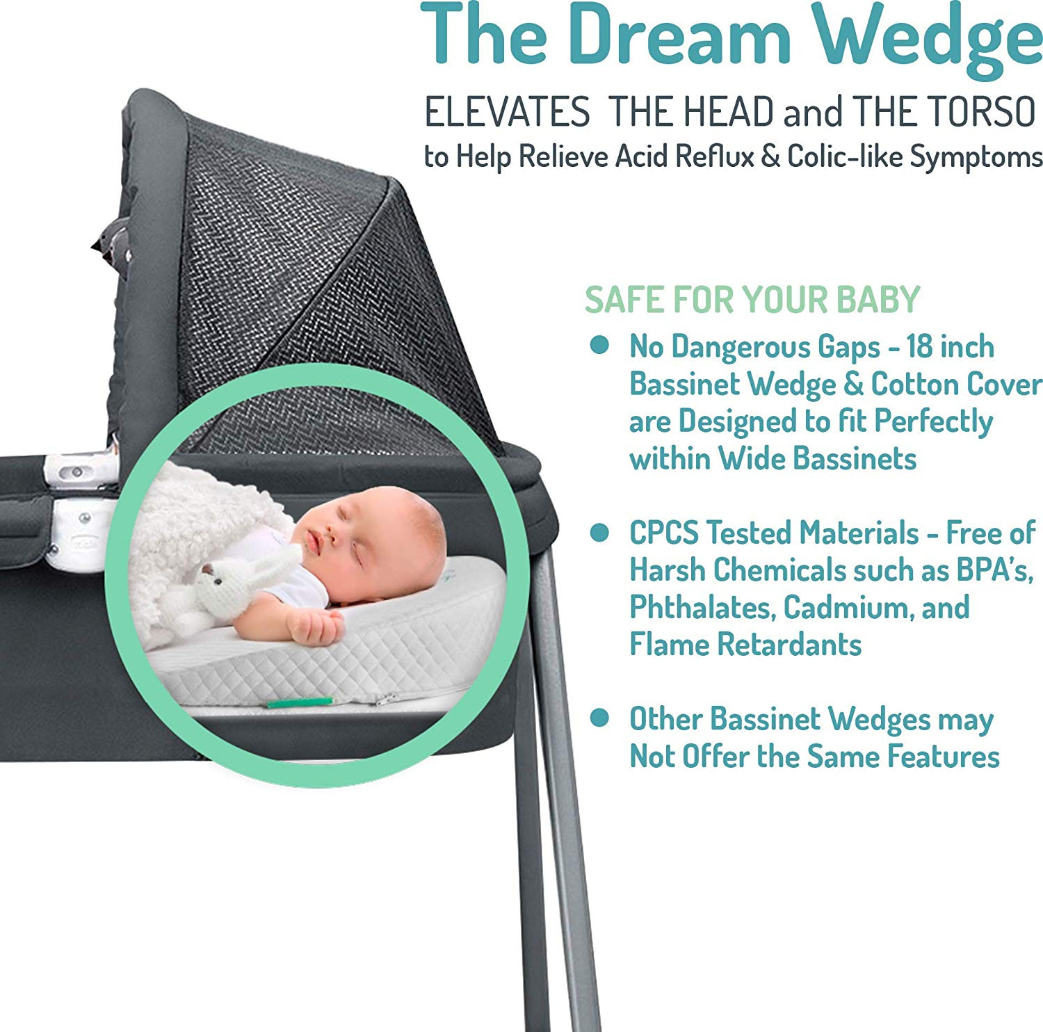 Newborn Bassinet Reflux Cher Bébé Dream Wedge Oval Baby Bassinet Pillow High Incline For Reflux And Colic Cotton And Waterproof Covers Sleep Positioner For Halo And