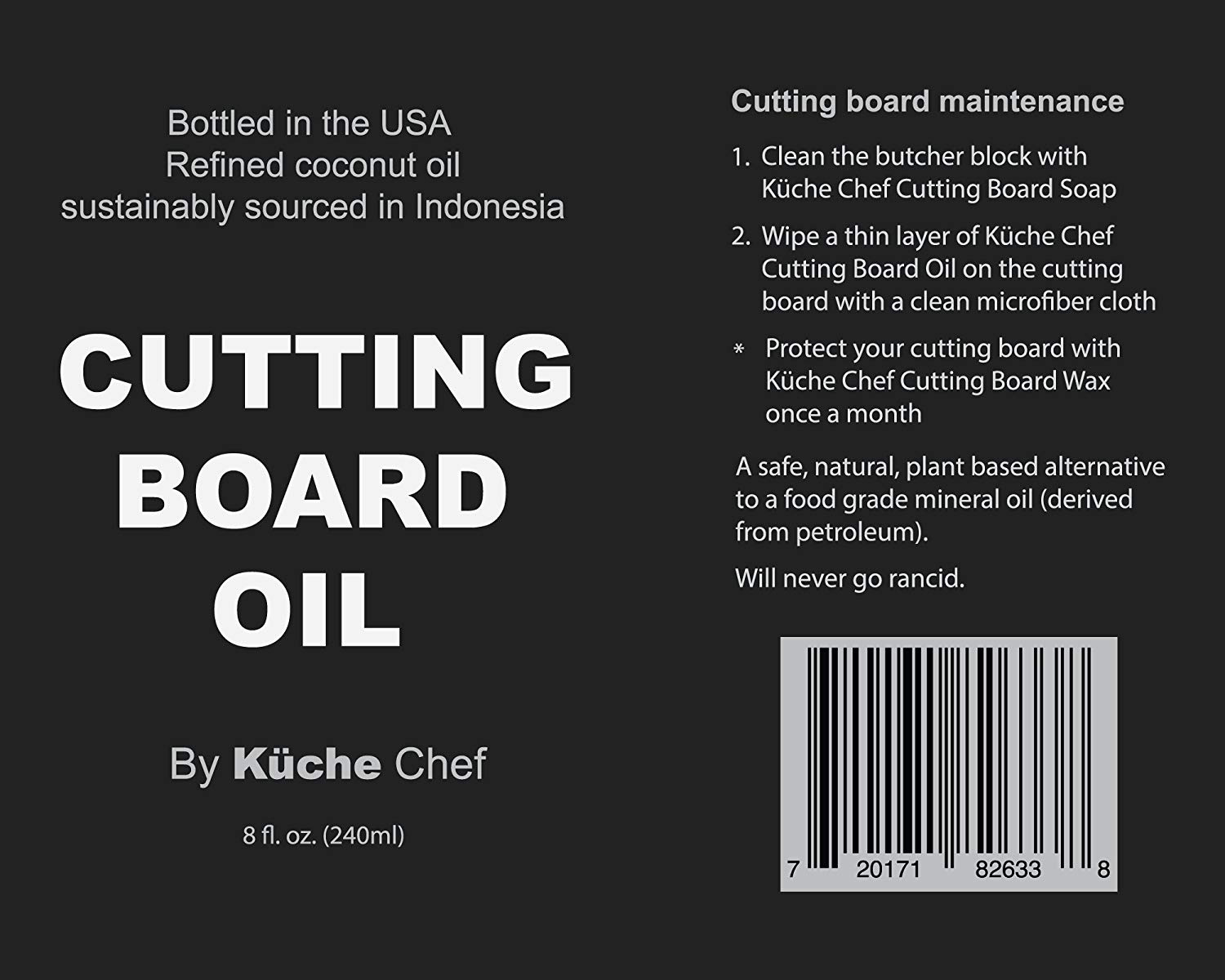 Kuche Chef Natural Cutting Board Oil For Daily Use Bottled In The Usa From Sustainably Sourced Non Gmo Refined Coconut Oil Protect Wooden Cutting Board Does