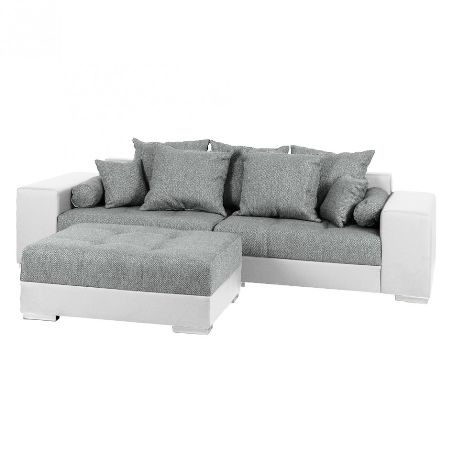 Polsterecke Montego Couch Weiss Grau