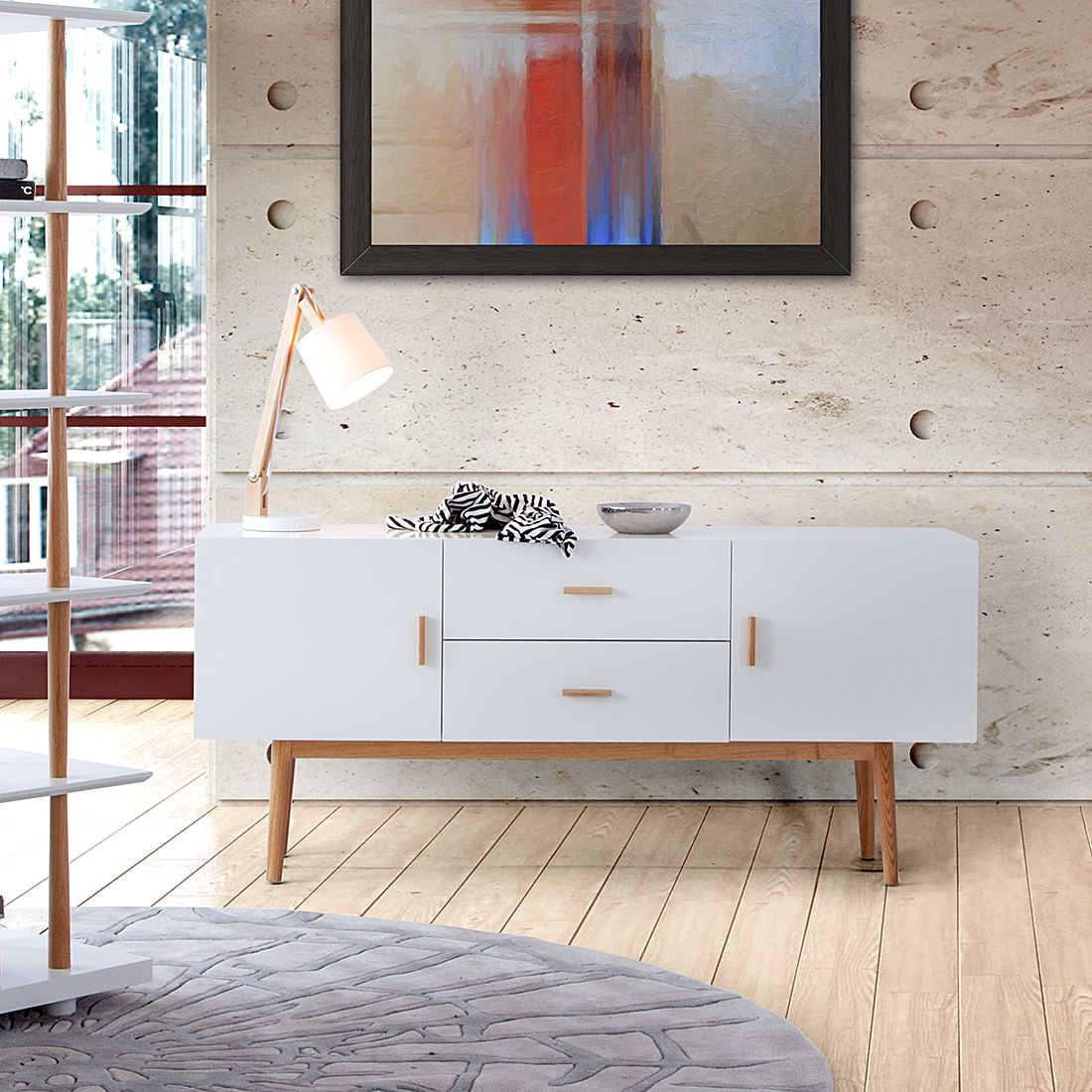Sideboards Lugano Sideboard Braun Walnuss Interior Highboard Holz Wei Top Interior Design Mit Holz Und
