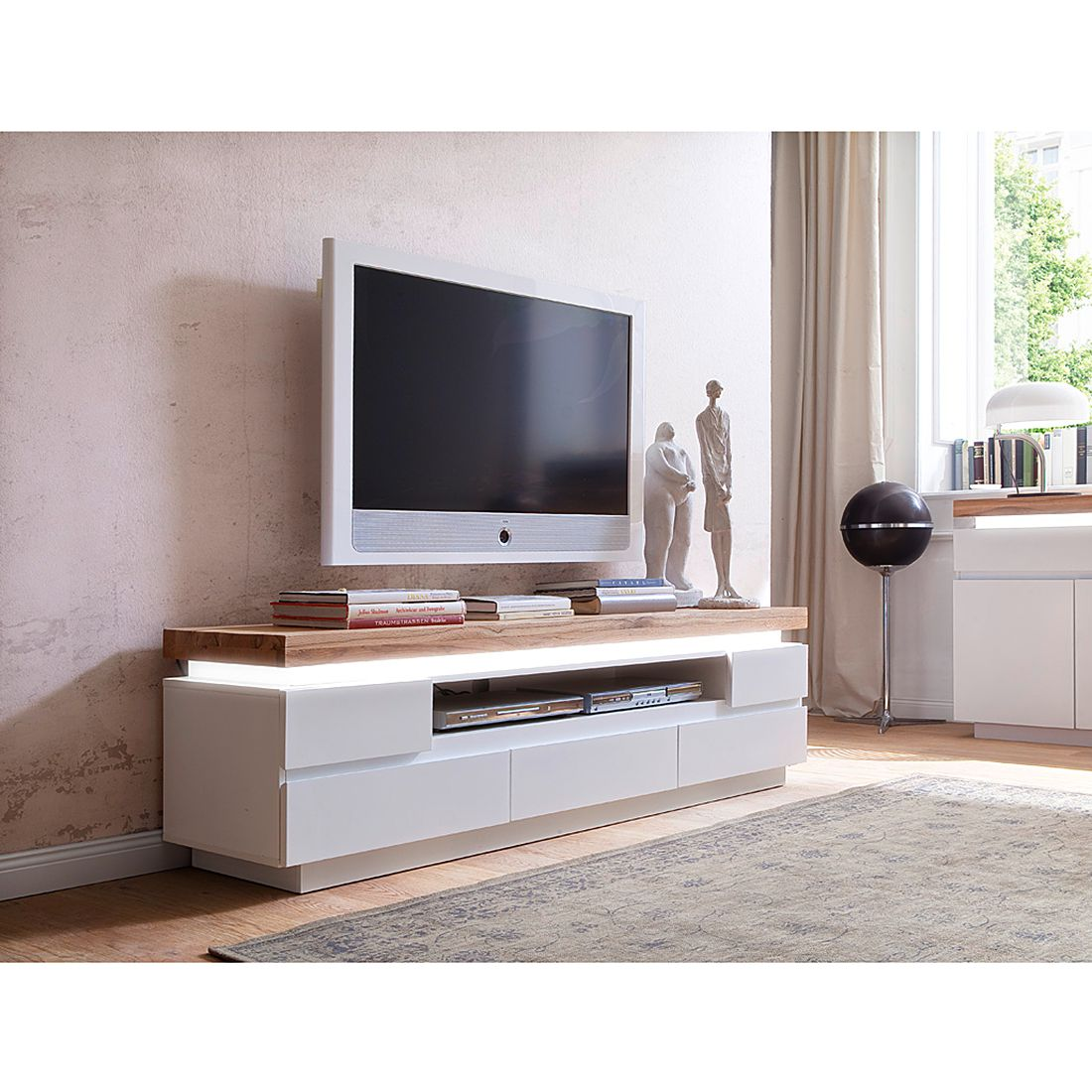 Tv Sideboard Mit Led Tv Lowboard Roble Iii