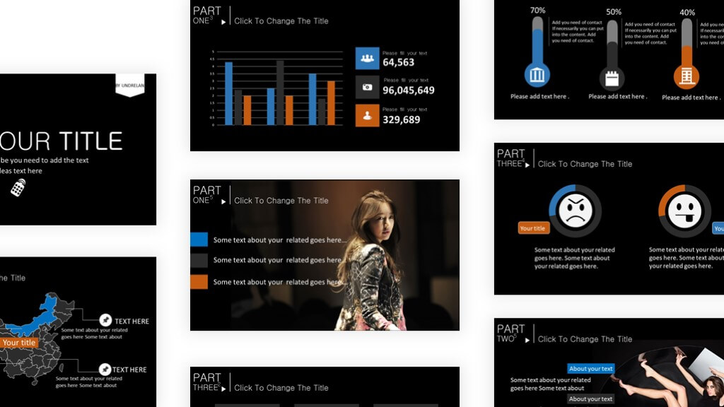 Dark self introduction presentation template - Powerpoint Templates