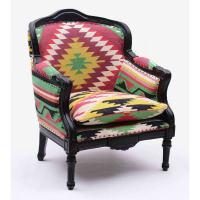 Baroque armchair Kilim fabric