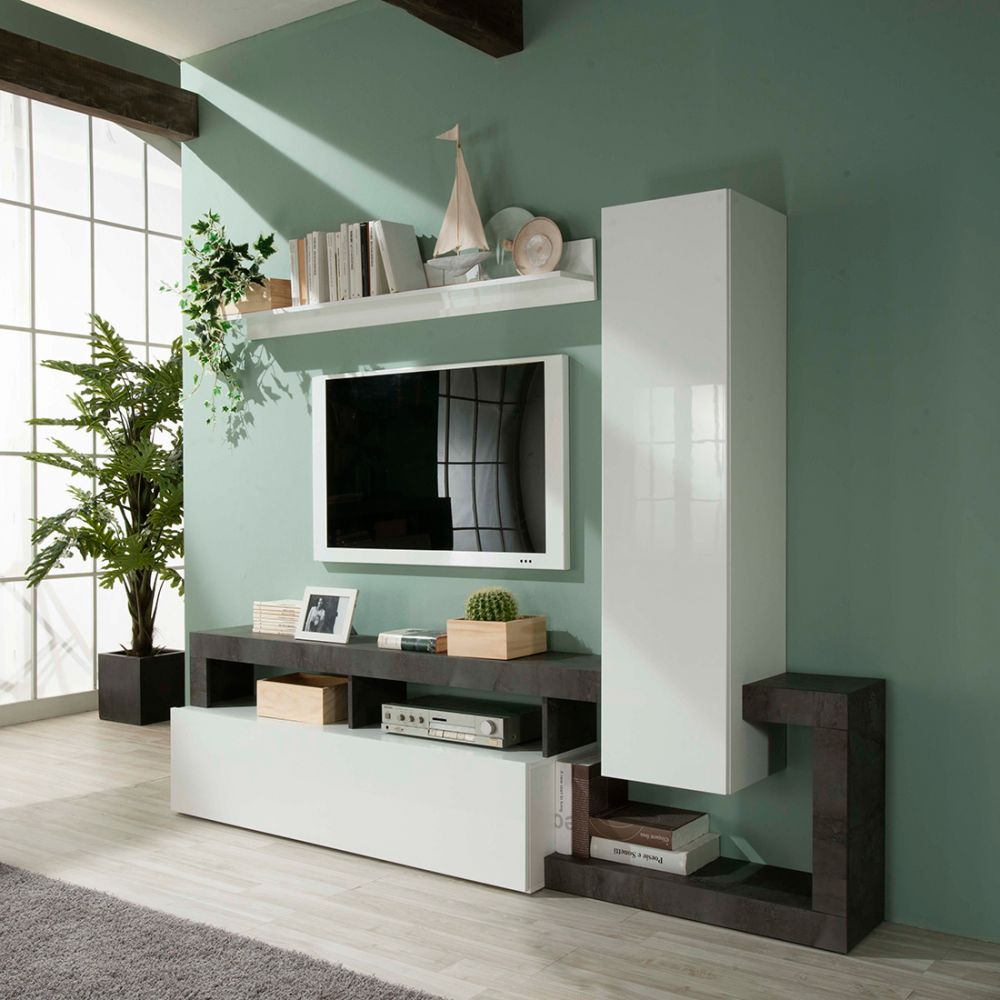 Ensemble Meuble Tv Design Burga 219 Cm Proposé En 2 Finitions Meubles Thiry