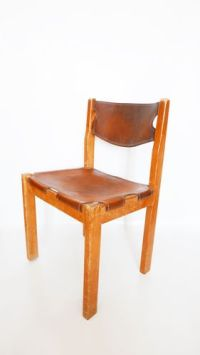 Mid-Century Camel Colored Leather Dining Chairs, 1960s ...