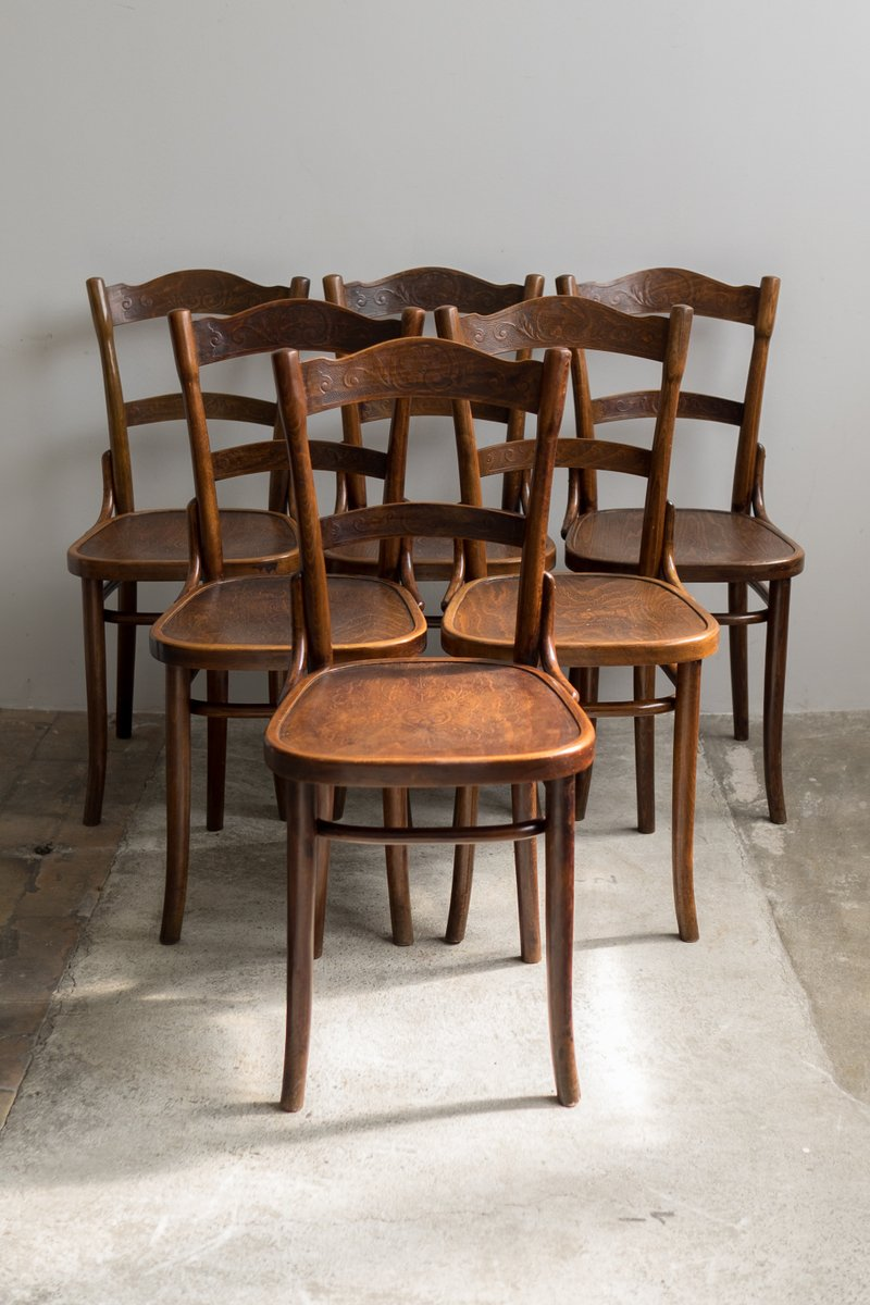 Eames Stuhl Antique Bentwood Chairs From Thonet, 1910, Set Of 6 For