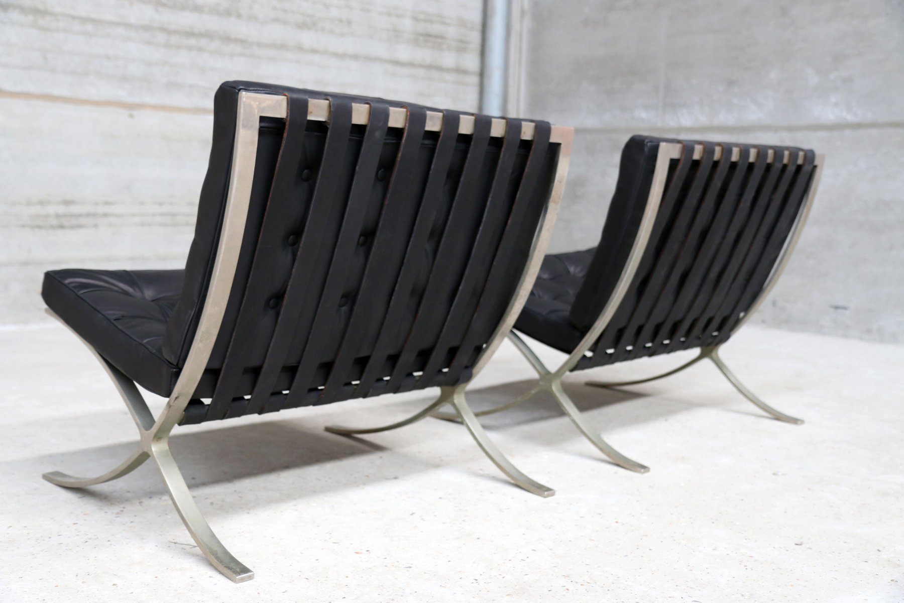 Wood Barcelona Chair Vintage Barcelona Chairs By Ludwig Mies Van Der Rohe For