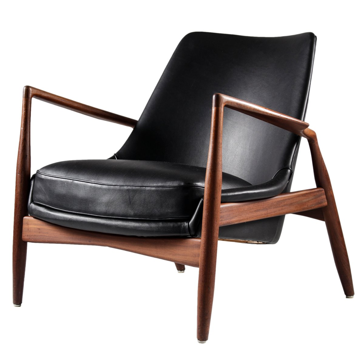Black leather seal chair by ib kofod larsen for ope m bler