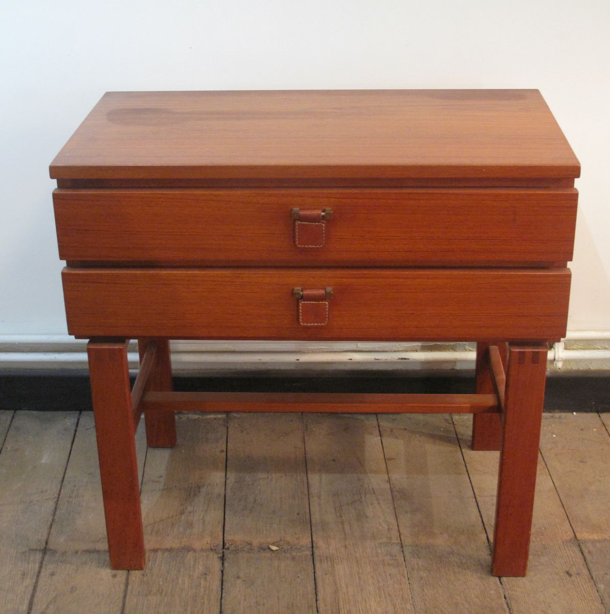 Danish Bedside Table Danish Teak Bedside Table With Two Drawers 1960s For Sale