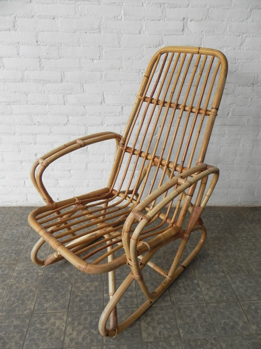 Vintage bamboo and rattan rocking chair
