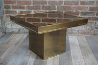 Vintage Square Coffee Table in Lacquered Metal and Brass ...
