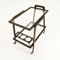Glass Bar Cart with Bottle Holder for sale at Pamono