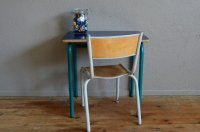 Dark Blue School Desk & Chair, 1960s for sale at Pamono