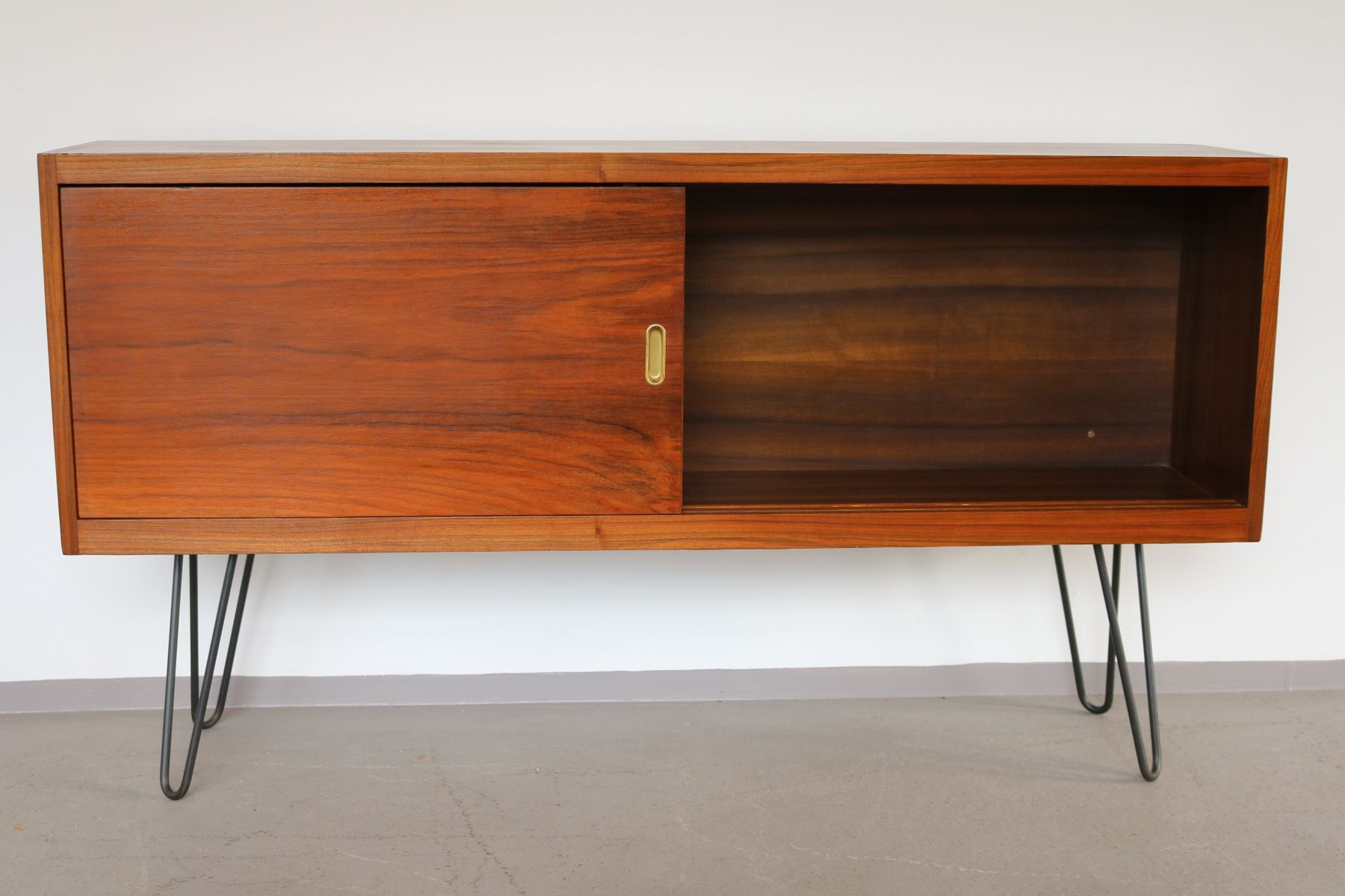Vintage Sideboard Hairpin Legs Walnut Sideboard With Hairpin Legs And Lockable Doors