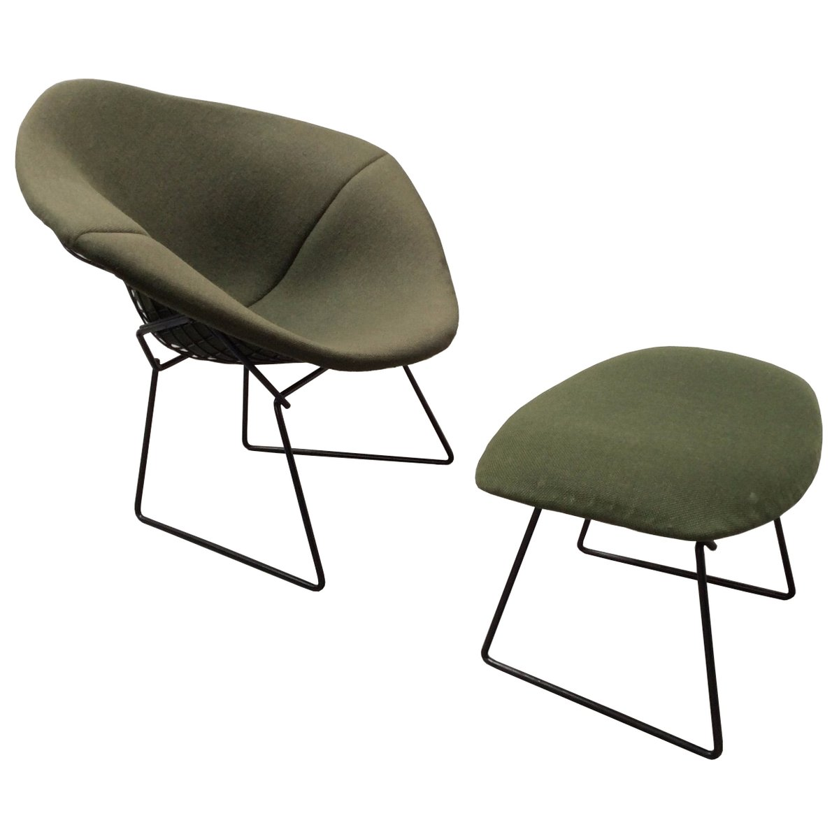 Vintage Diamond Chair And Ottoman By Harry Bertoia For