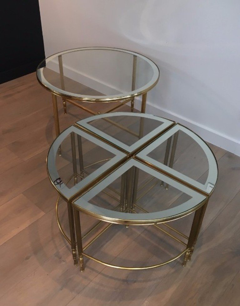 Couchtisch Chris Round Brass Coffee Table & 4 Nesting Tables, 1960s For