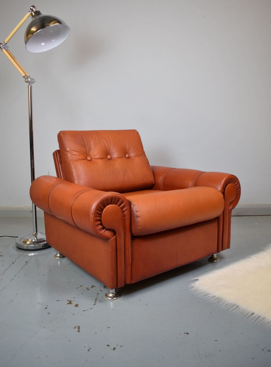 Vintage Red Leather Lounge Chair For Sale At Pamono
