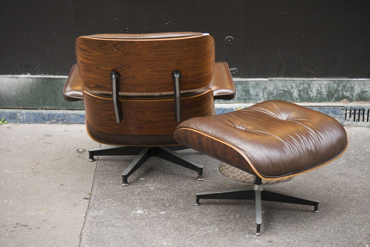 Brown Leather Lounge Chair Ottoman By Charles Ray