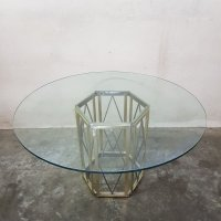 Mid-Century Italian Glass and Brass Round Dining Table by ...