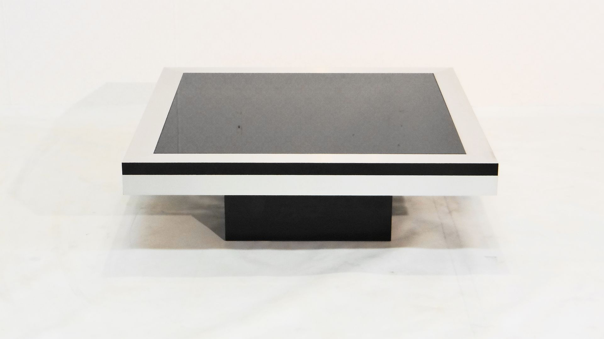 French Stainless Steel and Glass Coffee Table for sale at