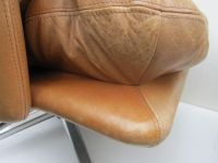 Mid-Century Leather Lounge Swivel Chair with Ottoman for ...
