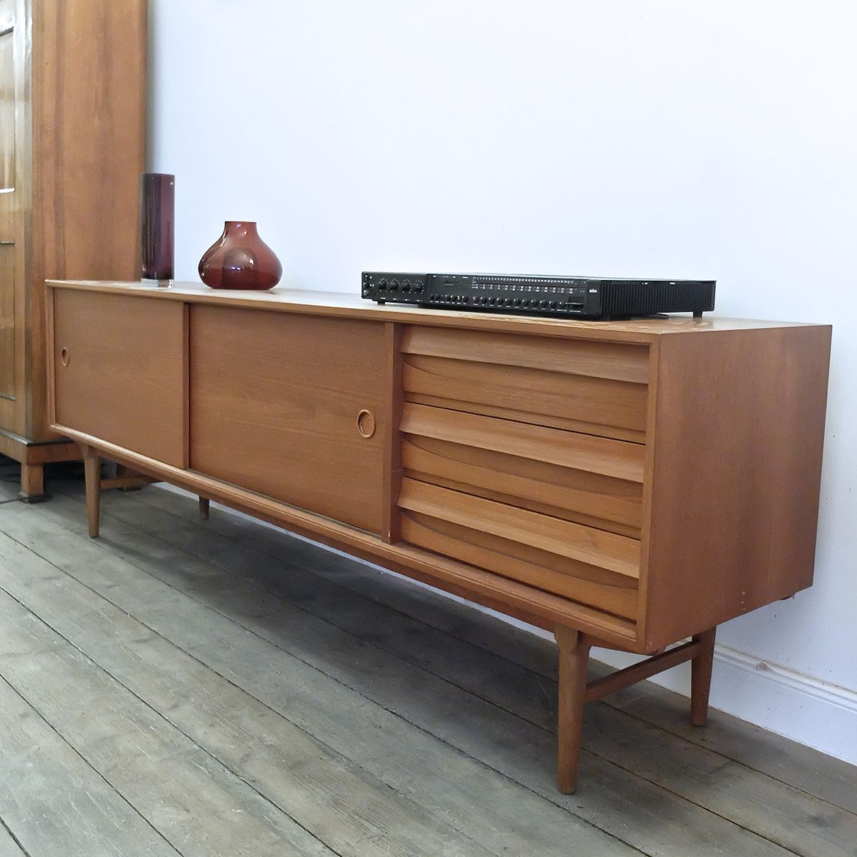 Vintage Sideboard Sliding Doors Vintage Sideboard In Teak With Sliding Doors 1960s For
