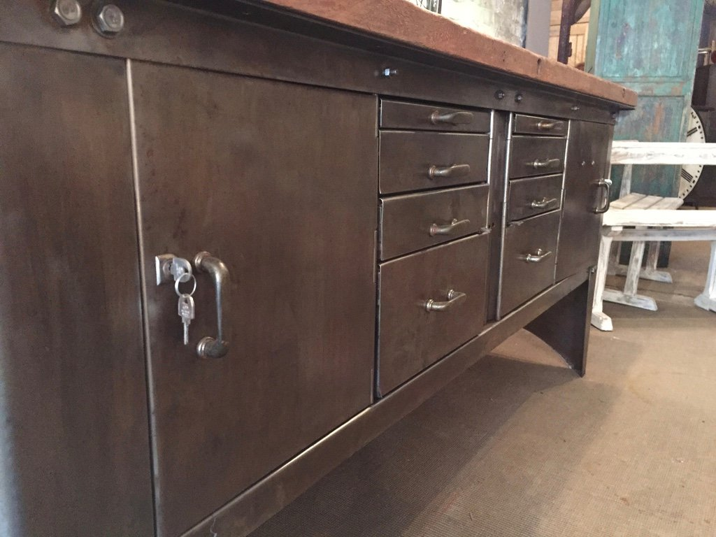Vintage Industrial Metal Sideboard From Atelier Biguet For - Sideboard Industrial Metall