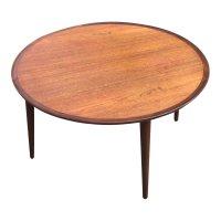Danish Round Teak Coffee Table for sale at Pamono