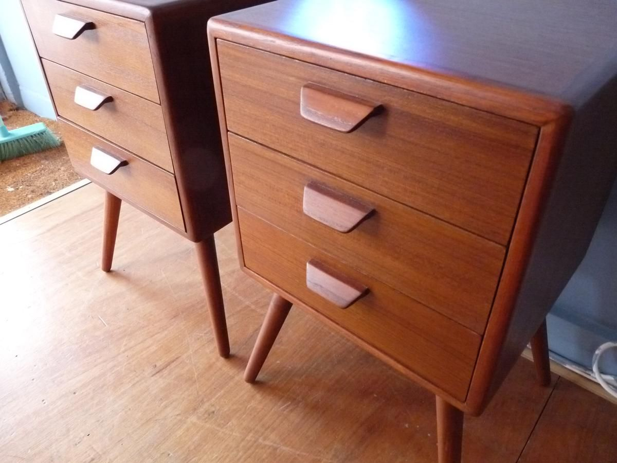 Danish Bedside Table Vintage Danish Bedside Tables 1960s Set Of 2 For Sale At