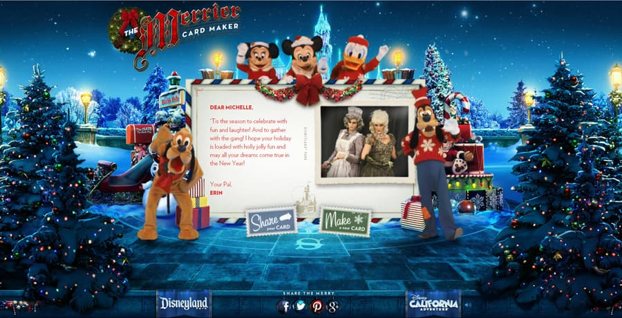 Merrier Card Maker Returns \u2013 Send a Holiday Greeting from Disneyland