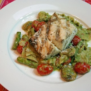 Pasta Rags and Pesto with Grilled Cod