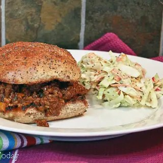 Sloppy Joes on Caramelized Onion Sprouted Wheat Bun