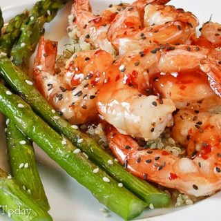 Grilled Thai Chili Sesame Shrimp with Roasted Asparagus
