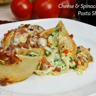 Cheese & Spinach Stuffed Pasta Shells [Gluten-Free] - served