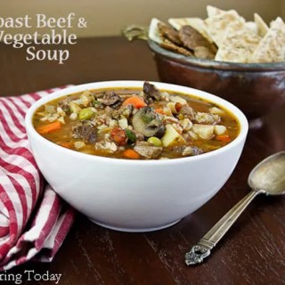 Roast Beef & Vegetable Soup - served | Savoring Today