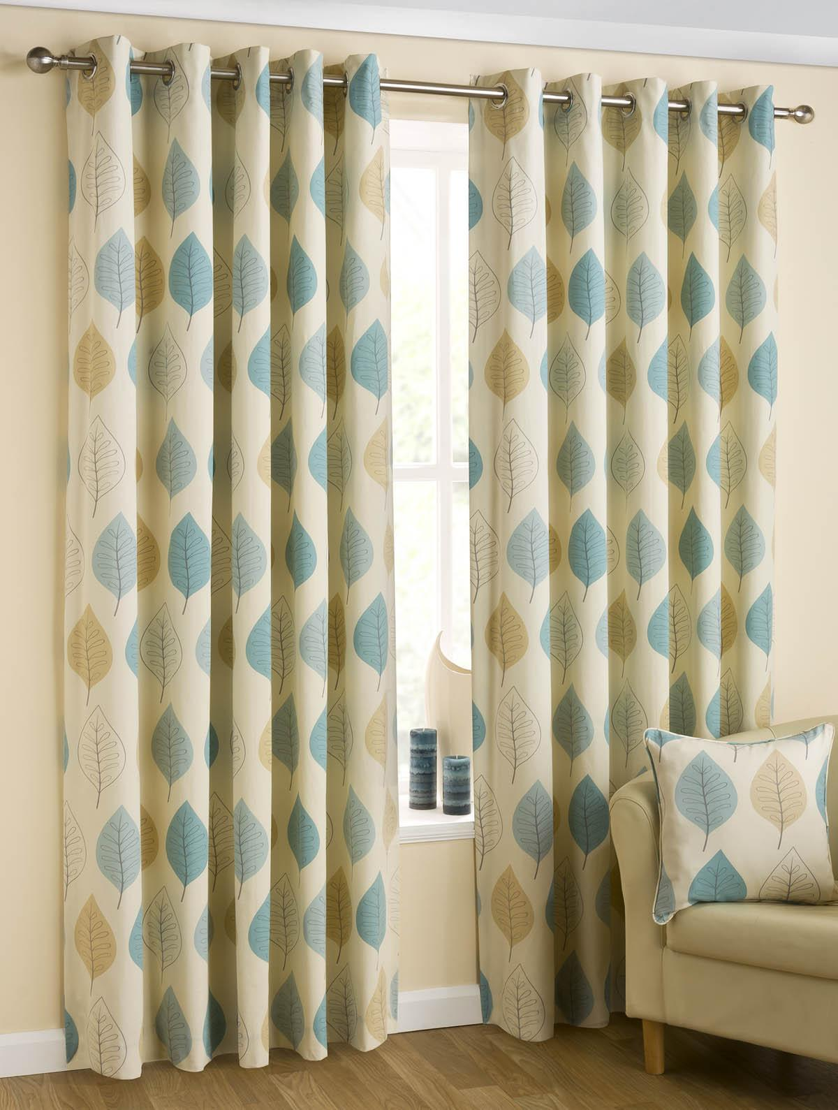 Leaves eyelet curtains duck egg uk delivery terrys fabrics