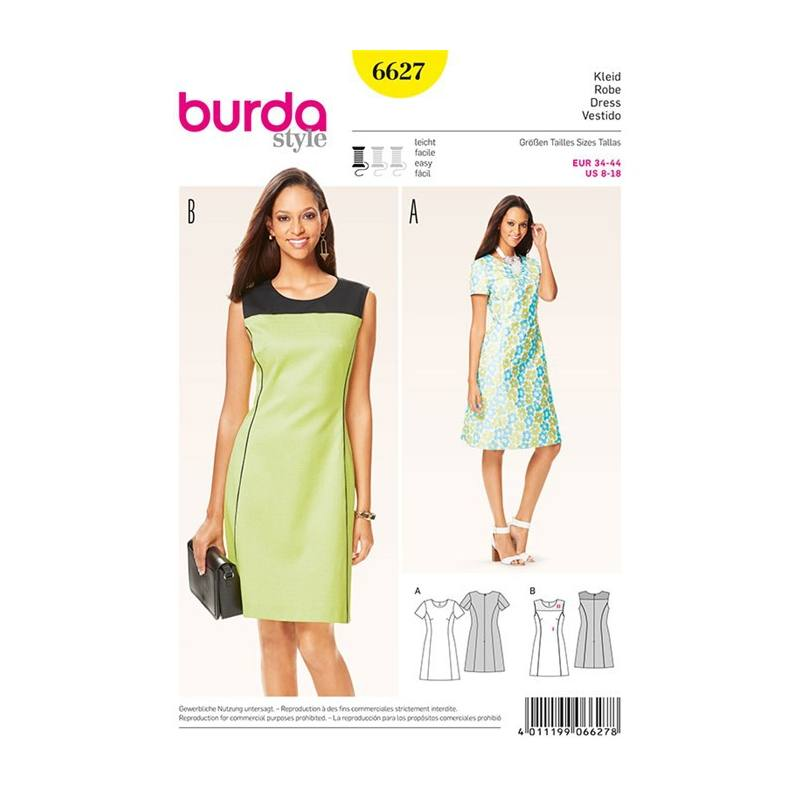 Tissu Exterieur Grande Largeur Impermeable Patron Burda 6627 : Robe Taille : 34-44 - Tissus Price