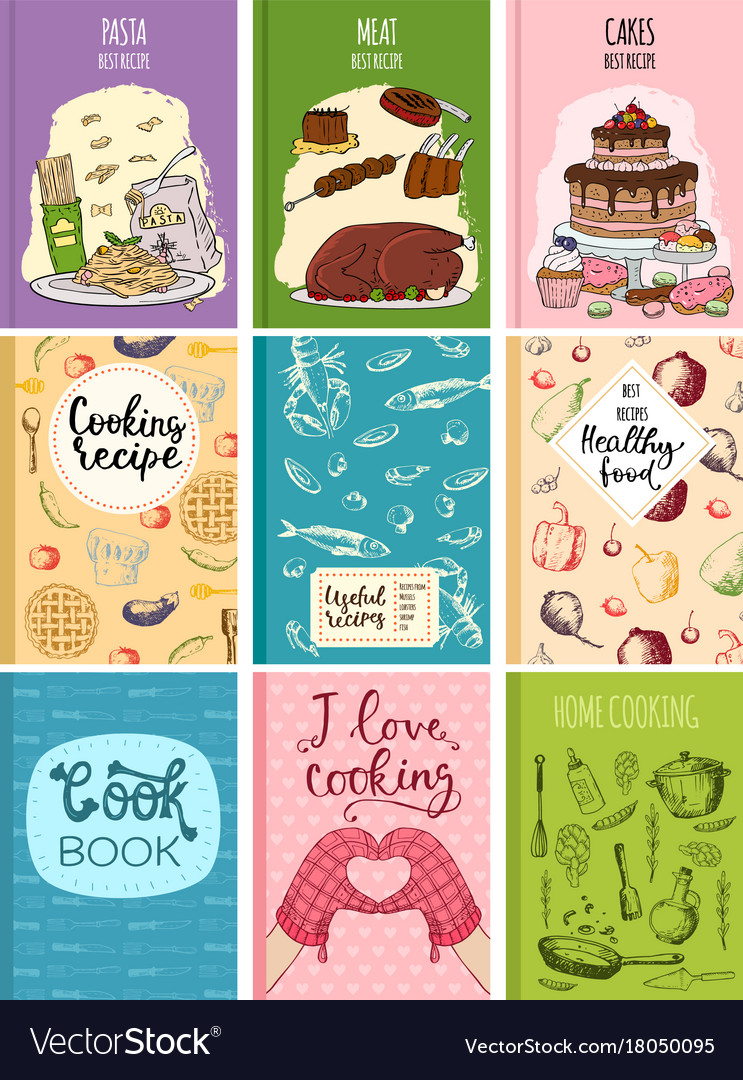 Best Kitchen Design Books Cooking Recipe Books Cover Kitchen Design Cards Vector Image