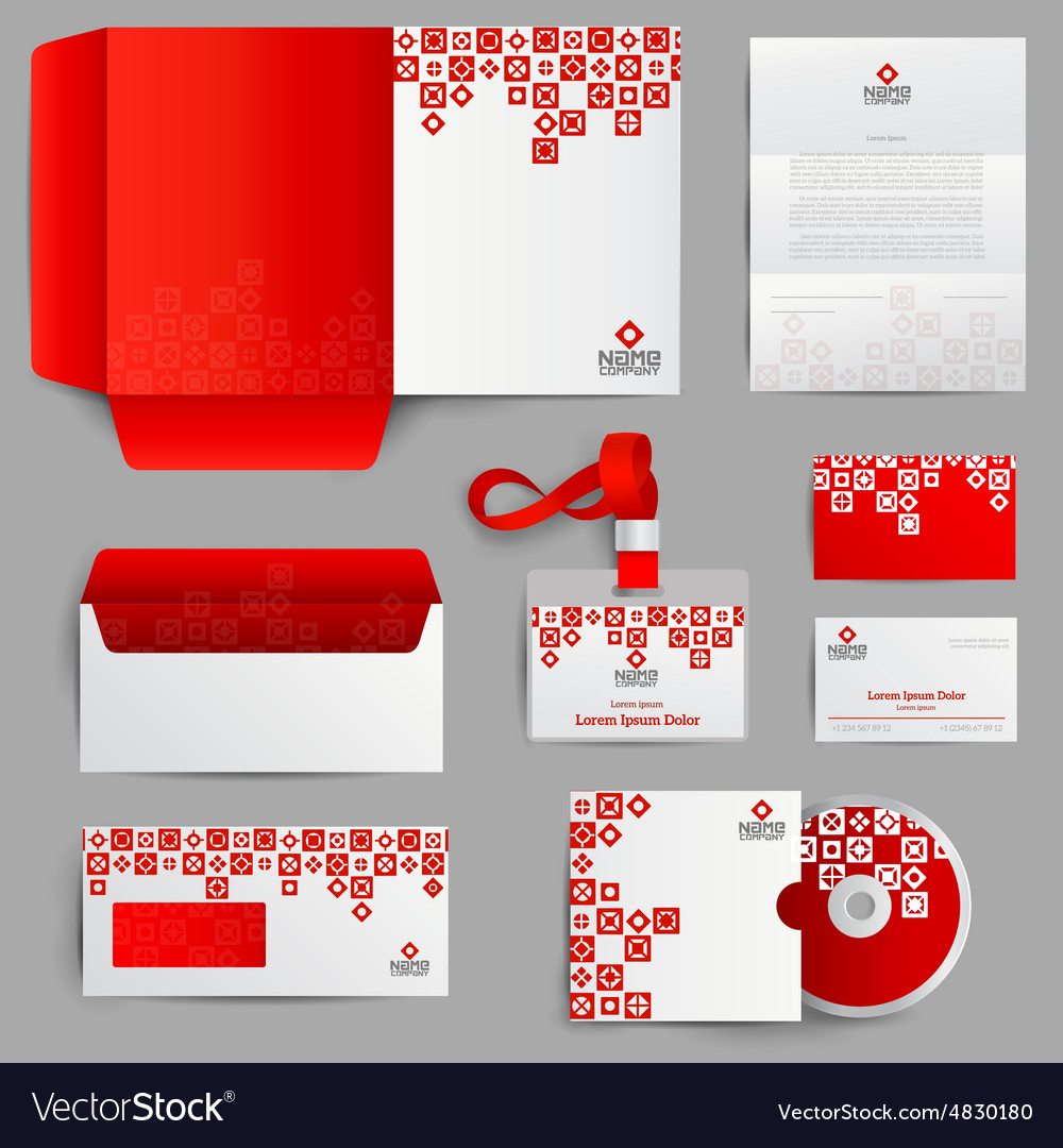 Corporate Graphic Design Corporate Identity Red Vector Image On Vectorstock
