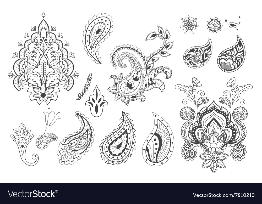 Set of decorative paisley templates Royalty Free Vector