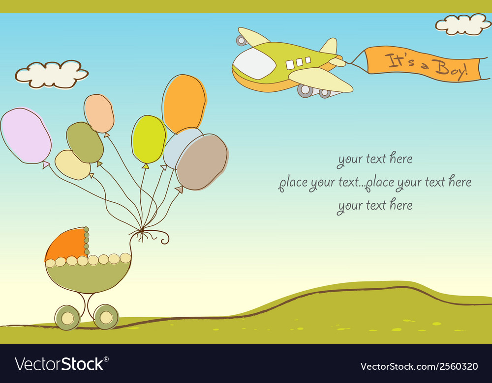 New baby announcement card with airplane Vector Image