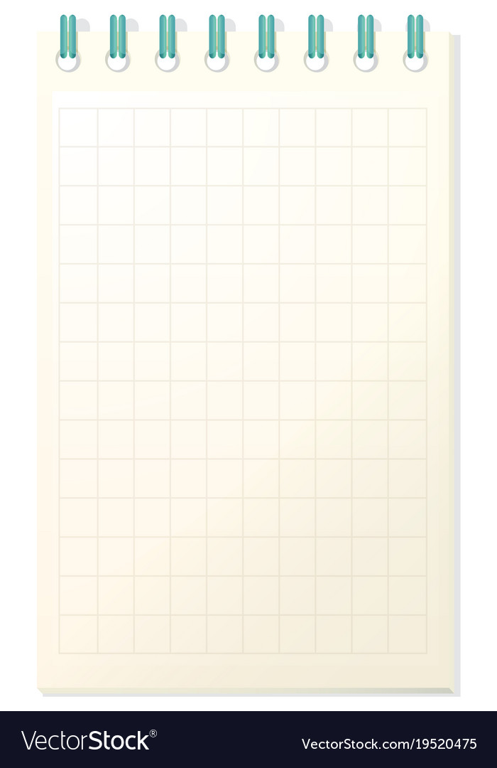 Notebook template with grid paper Royalty Free Vector Image