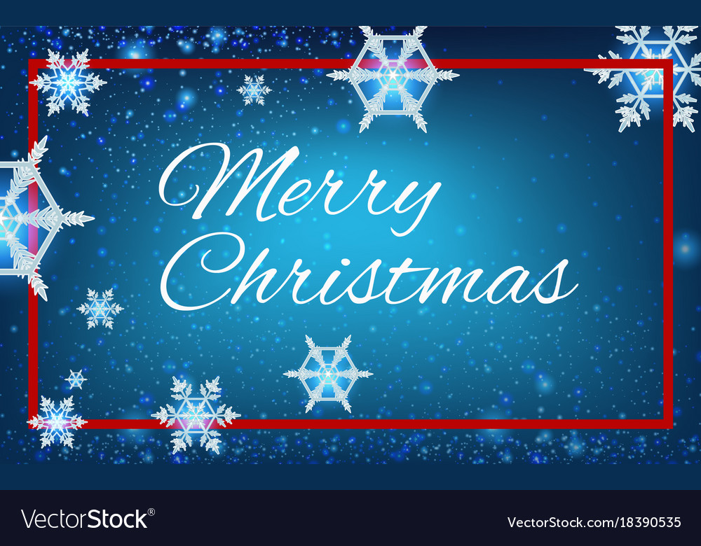 Merry christmas card template with snowflakes in Vector Image