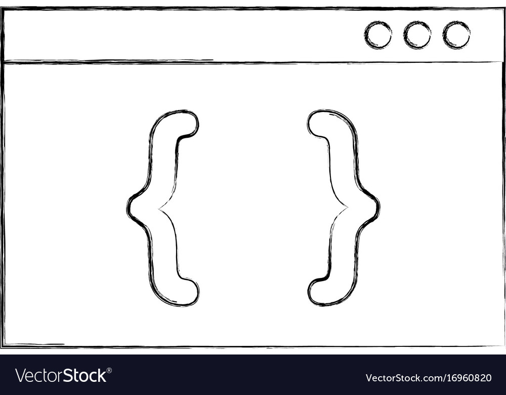 Template computer with brackets Royalty Free Vector Image