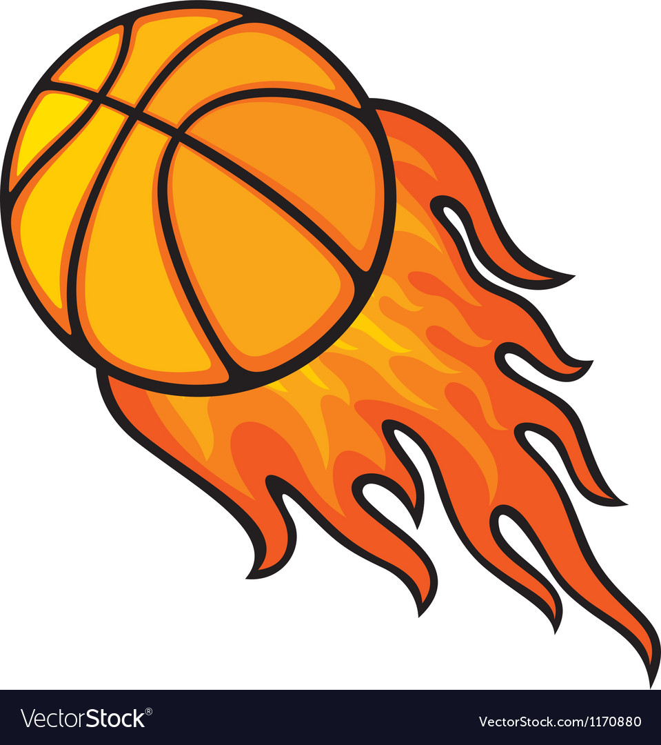 Basketball Ball Basketball Ball In Fire Vector Image On Vectorstock
