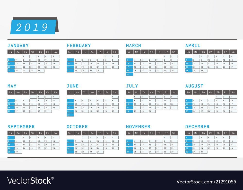 Year calendar 2019 office horizontal design Vector Image