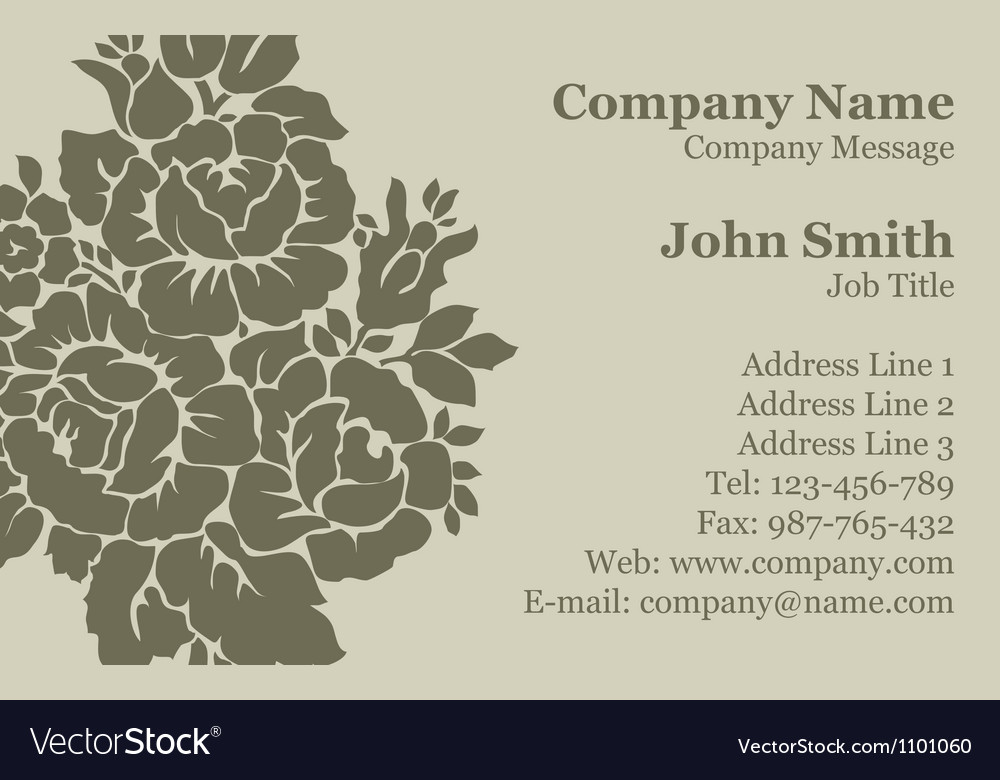 Victorian rose Damask Business Card Royalty Free Vector